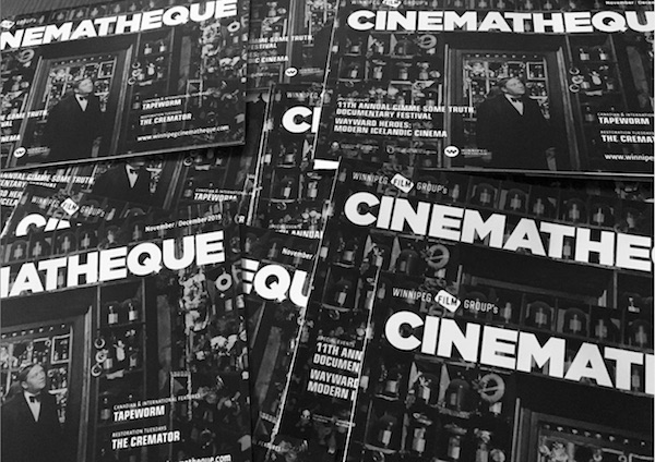 Cinematheque journals, publications, black and white.